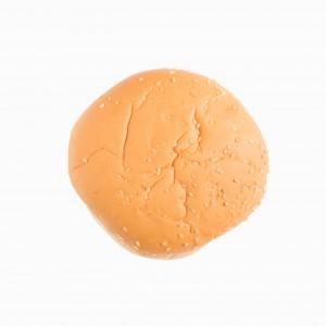 Hamburger bun isolated on white background.