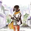 Watercolor illustration of woman holding phone while looking down at it, walking on the street
