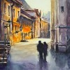 Watercolor painted illustration of couple people walking in city.