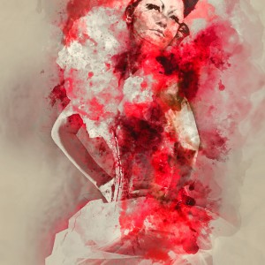 Digital watercolor painting of a Red Queen