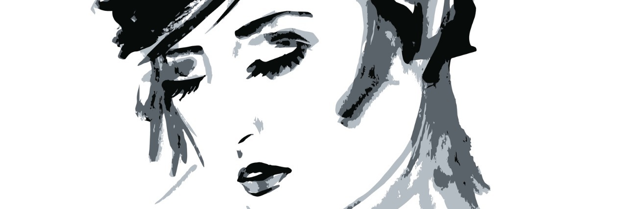 Black and white illustration of woman's face