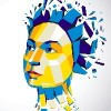 3d vector illustration of human head created in low poly style. Face of pensive female, smart personality. Intelligence allegory, artistic deformed object broken into splinters and fragments.