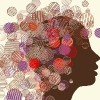 Illustration of silhouette of a woman's face surrounded by colorful circles
