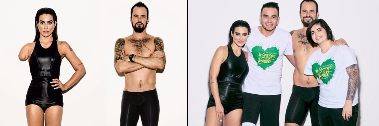 Side by side of Vogue photo and paralympians with Vogue models