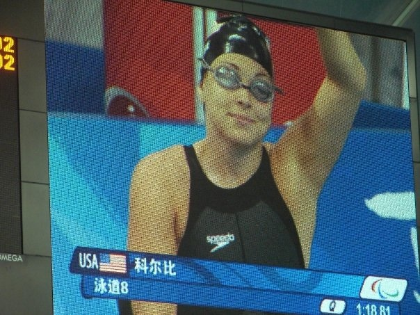 Beth on TV during the Beijing Paralympics.