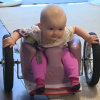 Evelyn Moore uses her handmade wheelchair in a clip from CTV News.