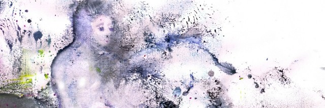 purple watercolor drawing of woman on beach