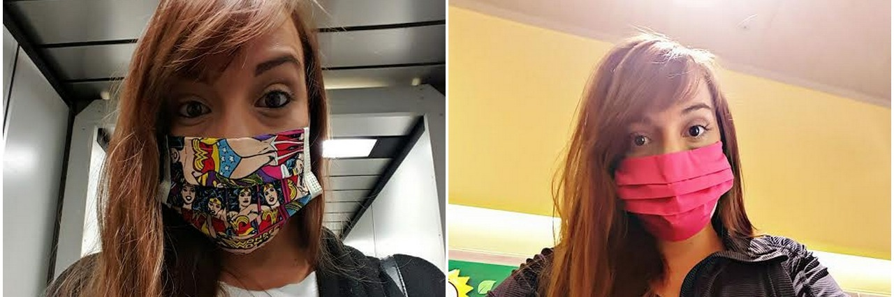 two photos of girl wearing different face masks