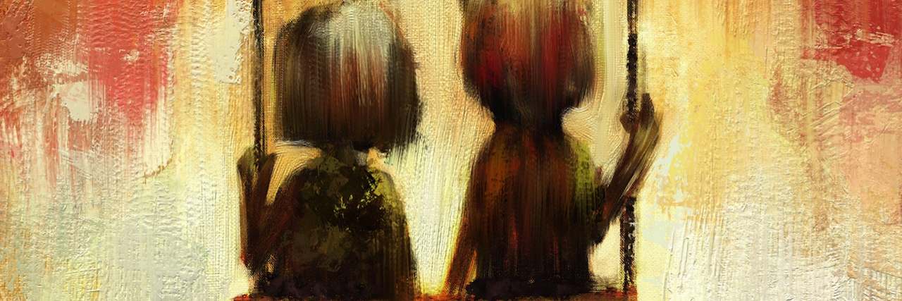 digital painting of couple under tree over swing, oil on canvas texture