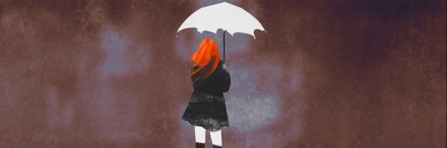 rear view of woman with white umbrella standing against ruined city,illustration painting