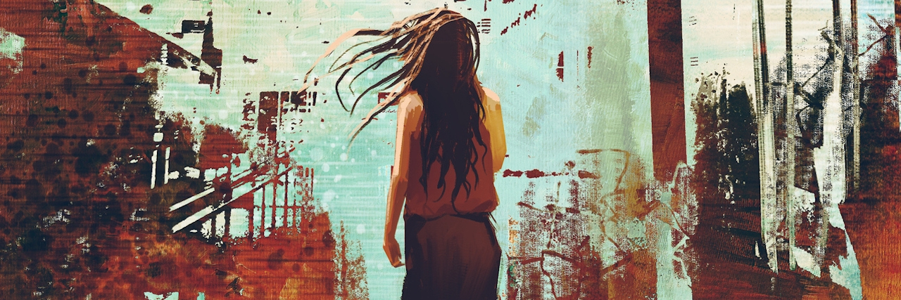 woman standing against abstract achitecture with grunge texture