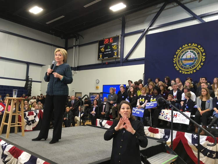 Clinton rally, with good placement of the ASL interpreter.