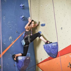 Maureen climbing without a prosthesis.