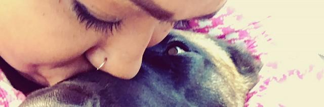Nishea and her service dog.