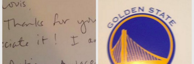 A handwritten note next to the Golden State Warriors logo (a yellow bridge against a blue background) and the words Golden State Warriors
