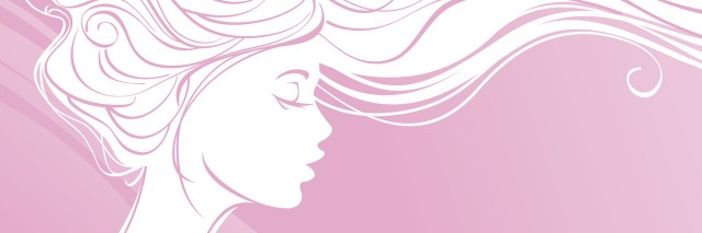 drawing of woman with waving hair on pink background