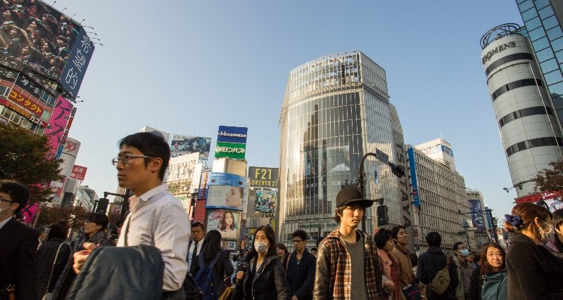 People on a street in Tokyo.