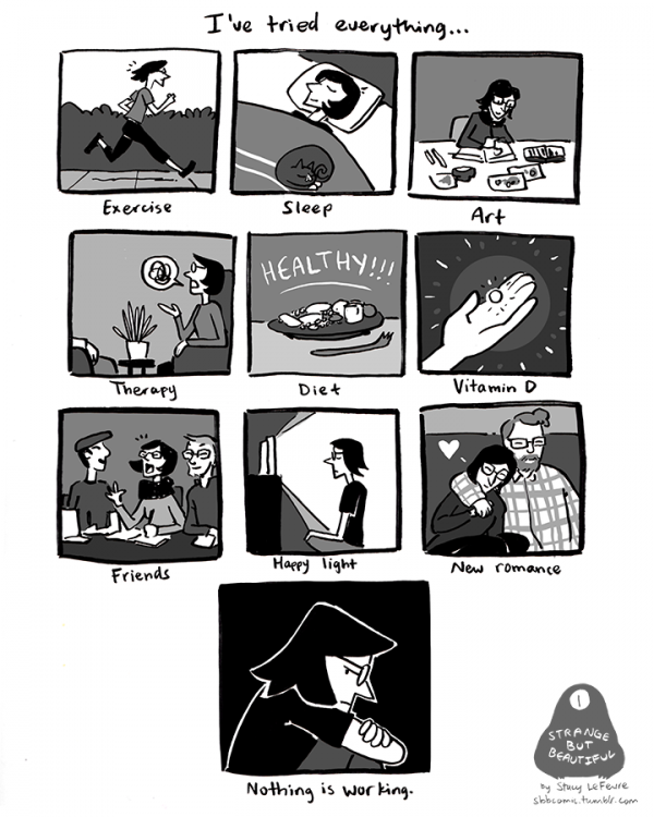 LeFevre illustrates the different things she tried to manage her depression