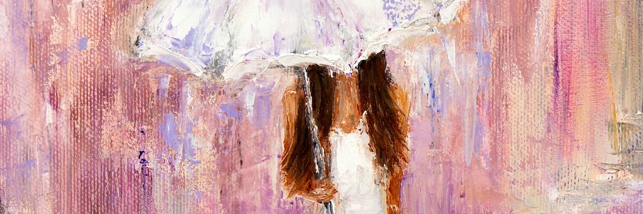 Original abstract oil painting showing beautiful young woman in white dress and umbrella walking on the street on canvas. Modern Impressionism, modernism,marinism
