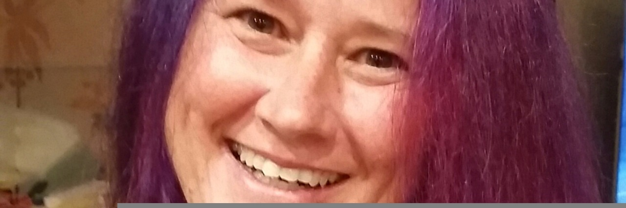Robin-Jo with purple hair