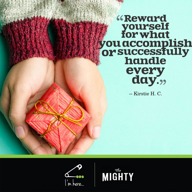 "hands holding a present. Text reads: ""Reward myself for what I accomplish or successfully handled every day."""