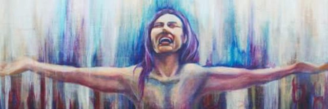 An illustration of a woman standing with her arms wide open