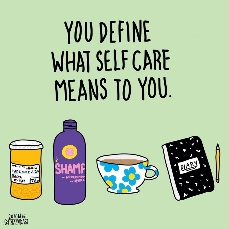 graphic of pill bottle, shampoo, teacup and diary with words you define what self care means to you