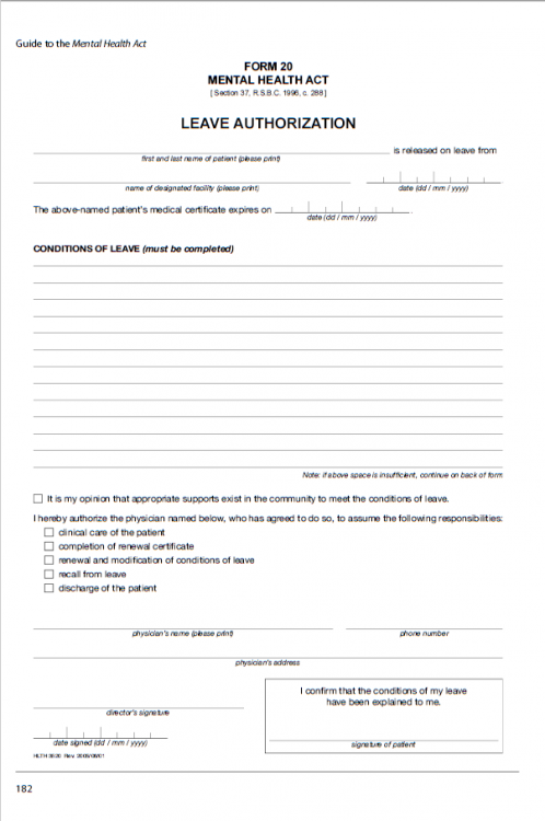 photo of a form for extended leave authorization