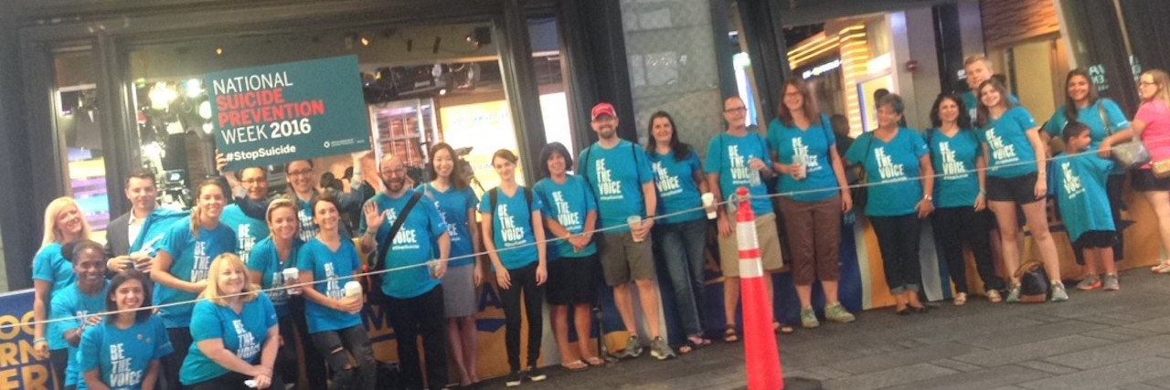 suicide prevention group standing outside good morning america