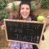 girl wearing graduation hat holding chalkboard that says now it's my turn to teach