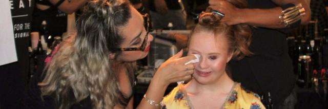 Madeline Stuart gets her makeup done