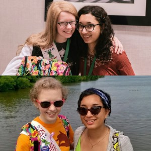 two pics of two teenage girls posing together