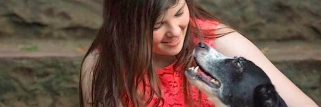 young woman with therapy pet