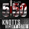 "image of a ""scary"" patient with the Knott's Scary Farm logo"
