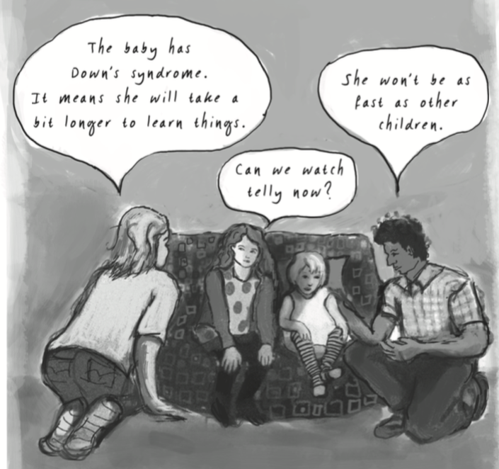 Illustration of Beaumont telling her kids about Beth