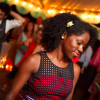 woman smiling at a wedding