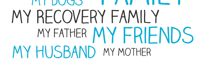 the words: Family, friends, husband, wife, dog, friend