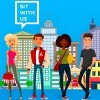 "Promotional image of ""Sit With Us"" app. Features a diverse group of cartoon-like people standing in front of a cityscape."