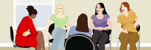 Illustration of a Woman`s Support Group