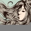 sketch of a womans face with her hair blowing in the wind