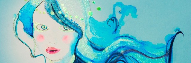 painting of woman in shades of blue