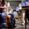 student sitting in desks in class
