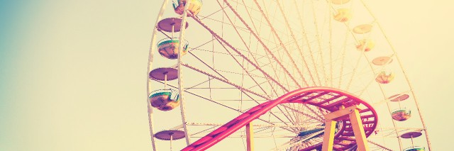 Vintage style picture of an amusement park.