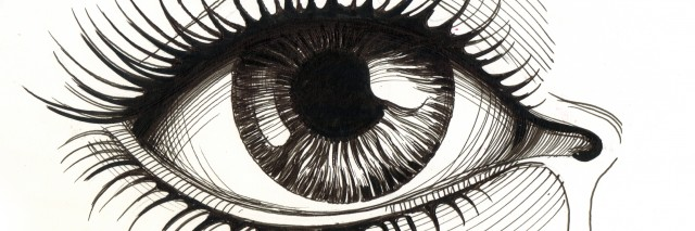 Hand drawn illustration of an eye with tear. Ink on paper sketch.