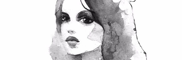 Hand-drawn watercolor painting. Black and white