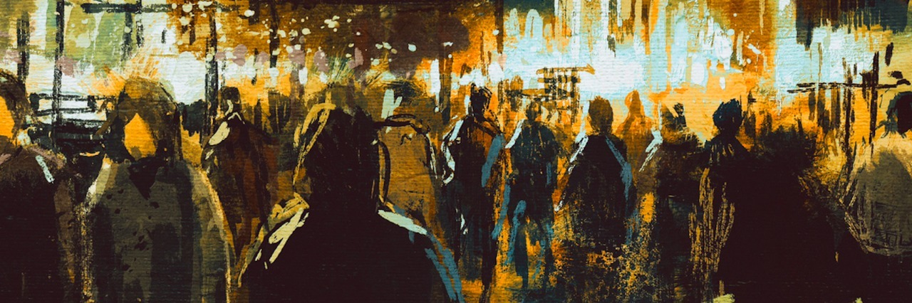 painting of city street at night with people shopping