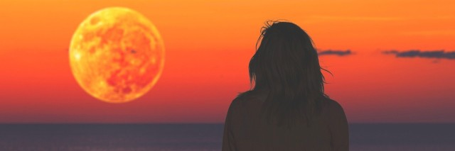 girl watching the sunset