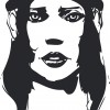 Black and white hand-drawn woman portrait. Ink painting imitation