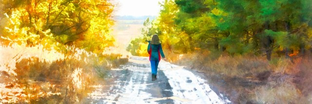 Watercolor oil illustration girl walking along the road through the forest.