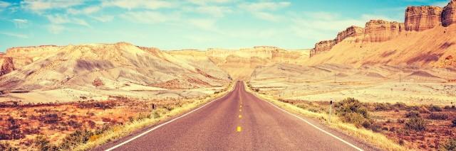 road going through the desert
